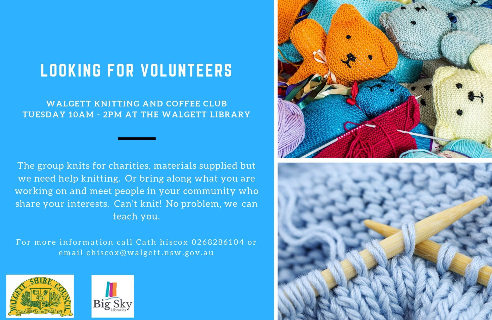 Looking For Volunteers - Walgett Knitters Group